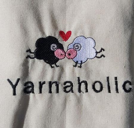 Yarnaholic Sheep - embroidered tote bag 2