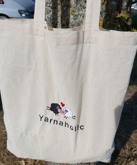 Yarnaholic Sheep - embroidered tote bag 3
