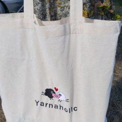 Yarnaholic Sheep - embroidered tote bag 10