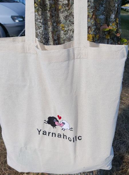 Yarnaholic Sheep - embroidered tote bag 4