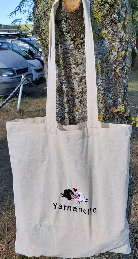Yarnaholic Sheep - embroidered tote bag 5