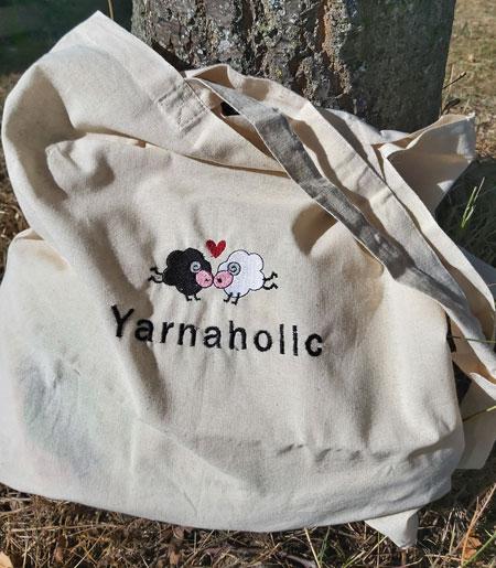 Yarnaholic Sheep - embroidered tote bag 1