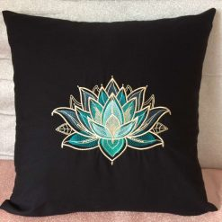 Gilded Lotus Cushion Handmade 10