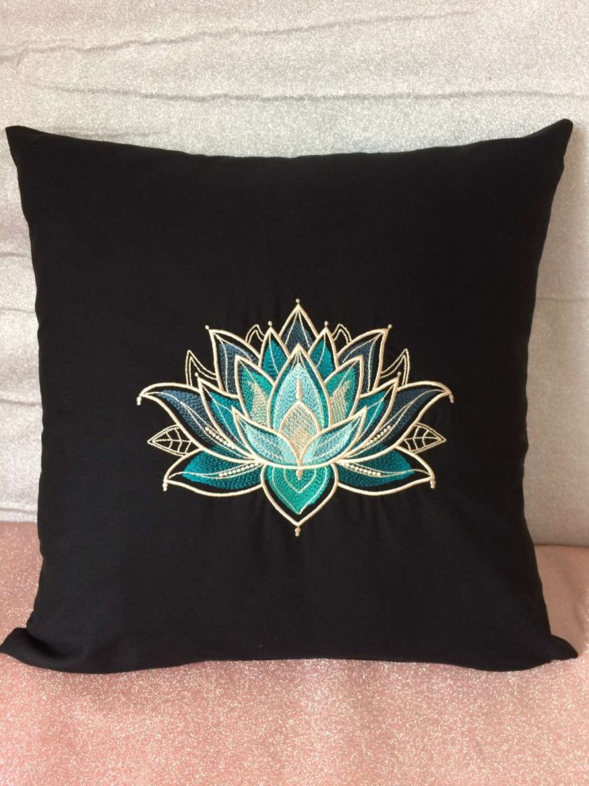 Gilded Lotus Cushion Handmade 4