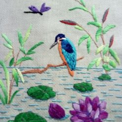 Victoriana Kingfisher Iron on Embroidery Transfer