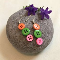 Colourful button drop earrings (set of 3) 8