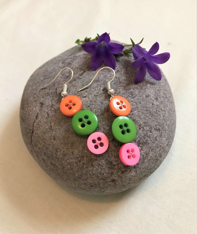 Colourful button drop earrings (set of 3) 2