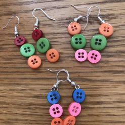 Colourful button drop earrings (set of 3) 9