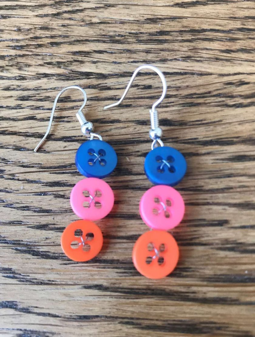 Colourful button drop earrings (set of 3) 4