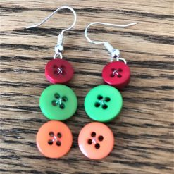 Colourful button drop earrings (set of 3) 11