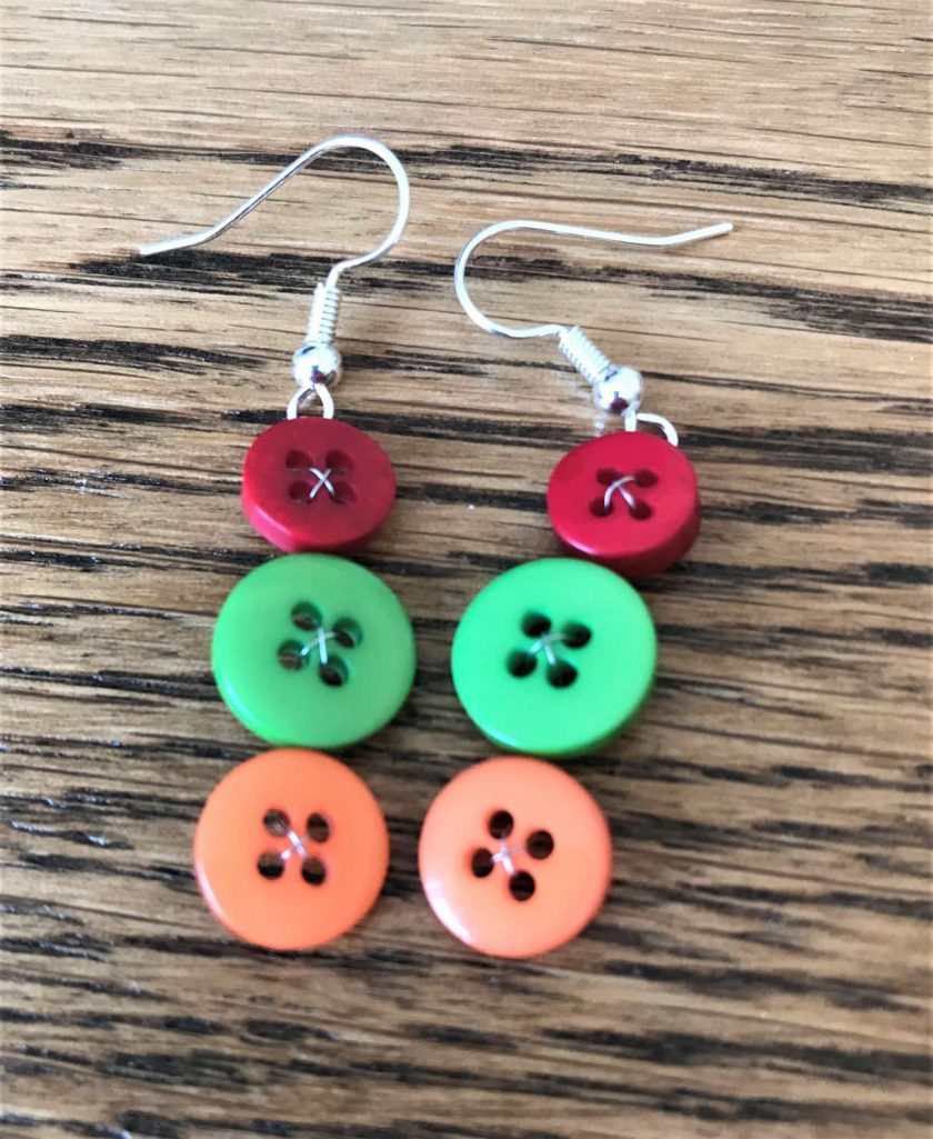 Colourful button drop earrings (set of 3) 5