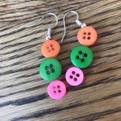 Colourful button drop earrings (set of 3) 12
