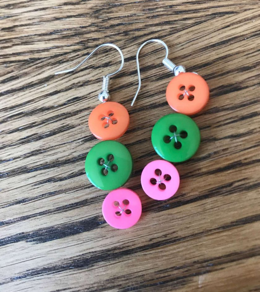 Colourful button drop earrings (set of 3) 6