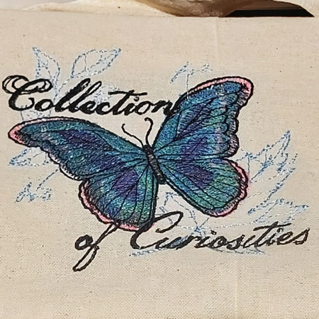 Curious Butterfly embroidered tote bag 5