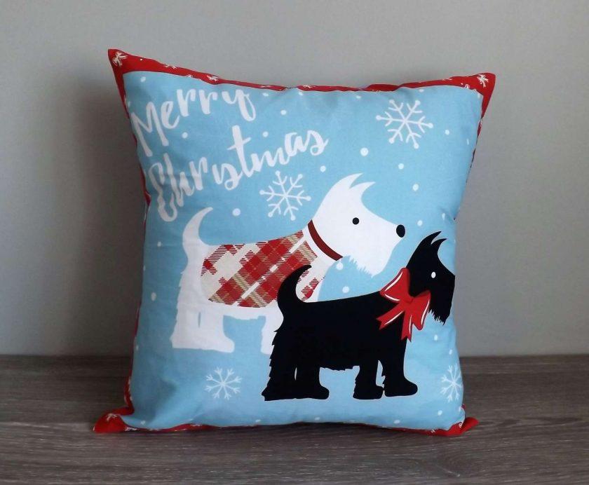 Christmas Scottie Dog Cushion 1