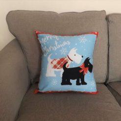 Christmas Scottie Dog Cushion 5