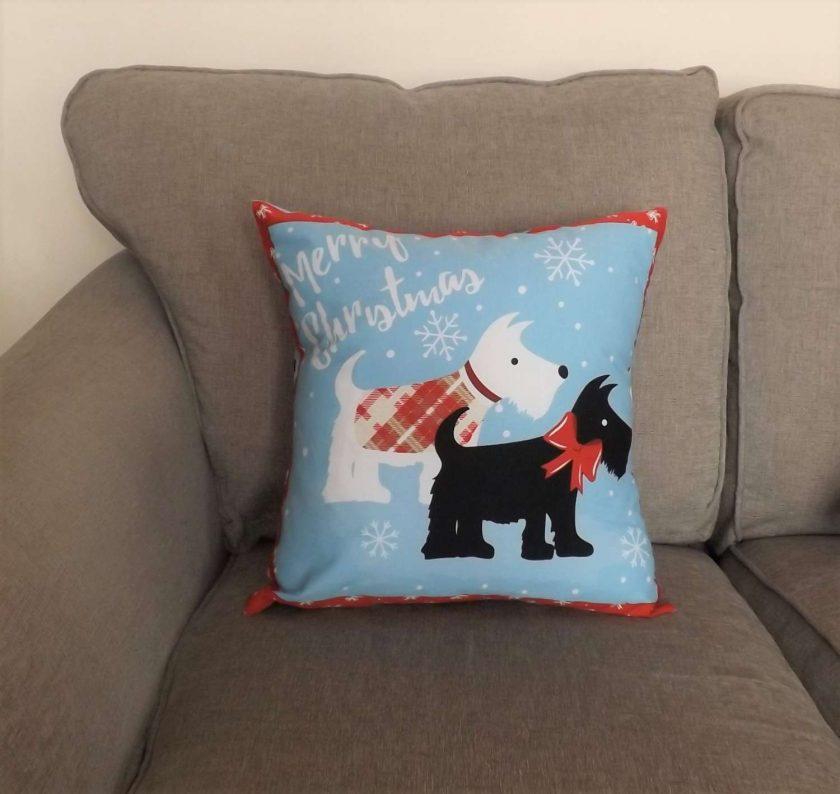 Christmas Scottie Dog Cushion 3
