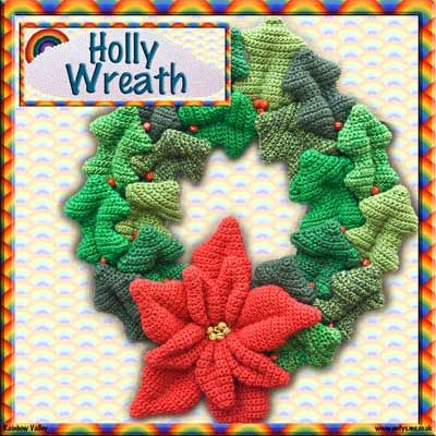 Holly Wreath - crochet pattern 1
