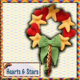 Hearts & Stars Wreath - crochet kit 1