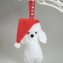 Felt Bichon Frise Dog, Cute Button nosed dog, wearing an oversized Santa's Hat Hanging Decoration, Dog Lovers Gift