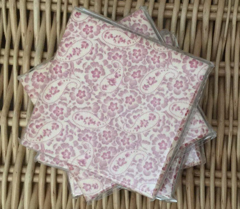 Set of 4 Paisley Pink Ceramic Tile Coaster Suelovelycrafts 1
