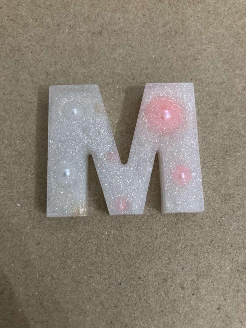Resin letter M key chain or plain 3