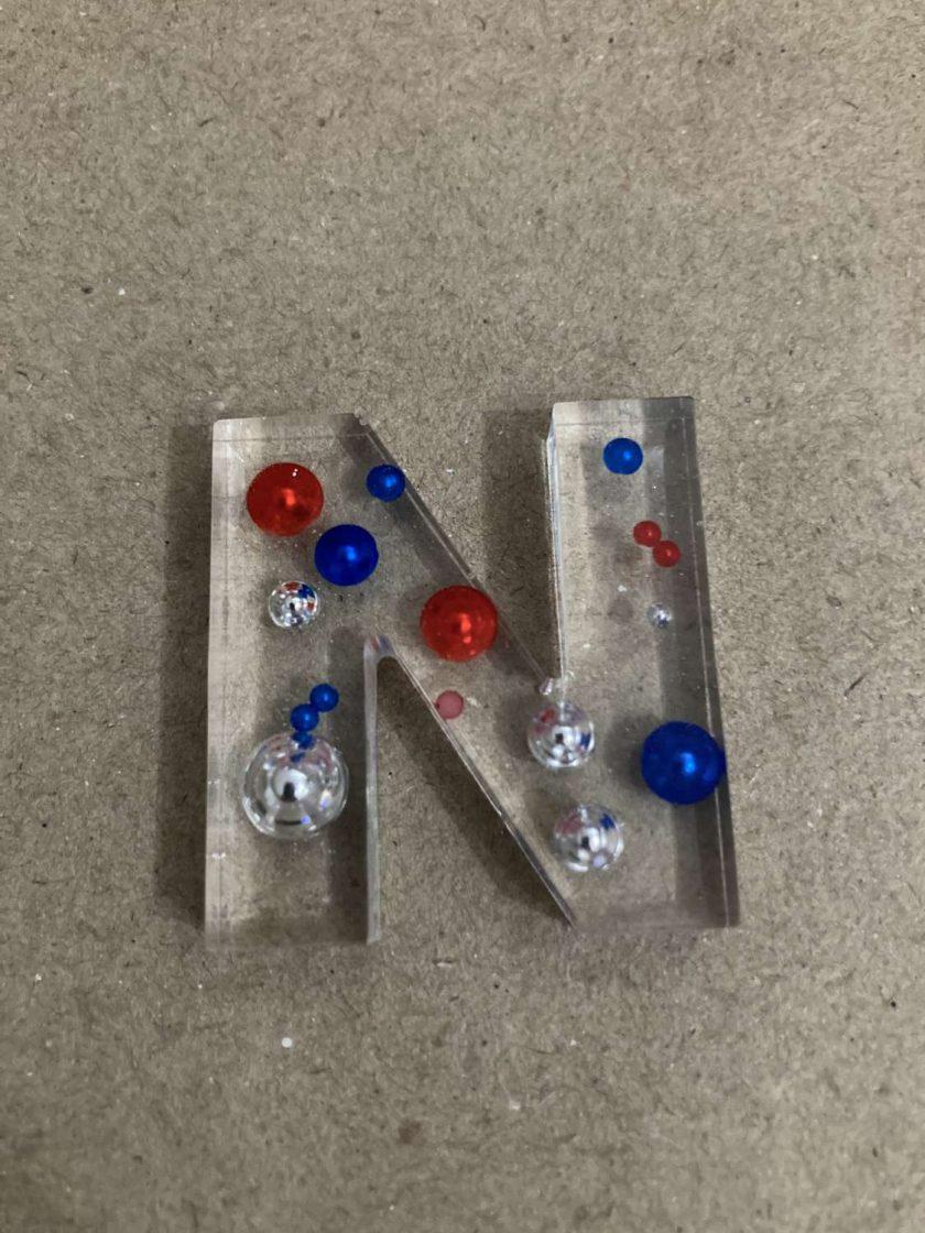 Resin letter N key chain or plain 5