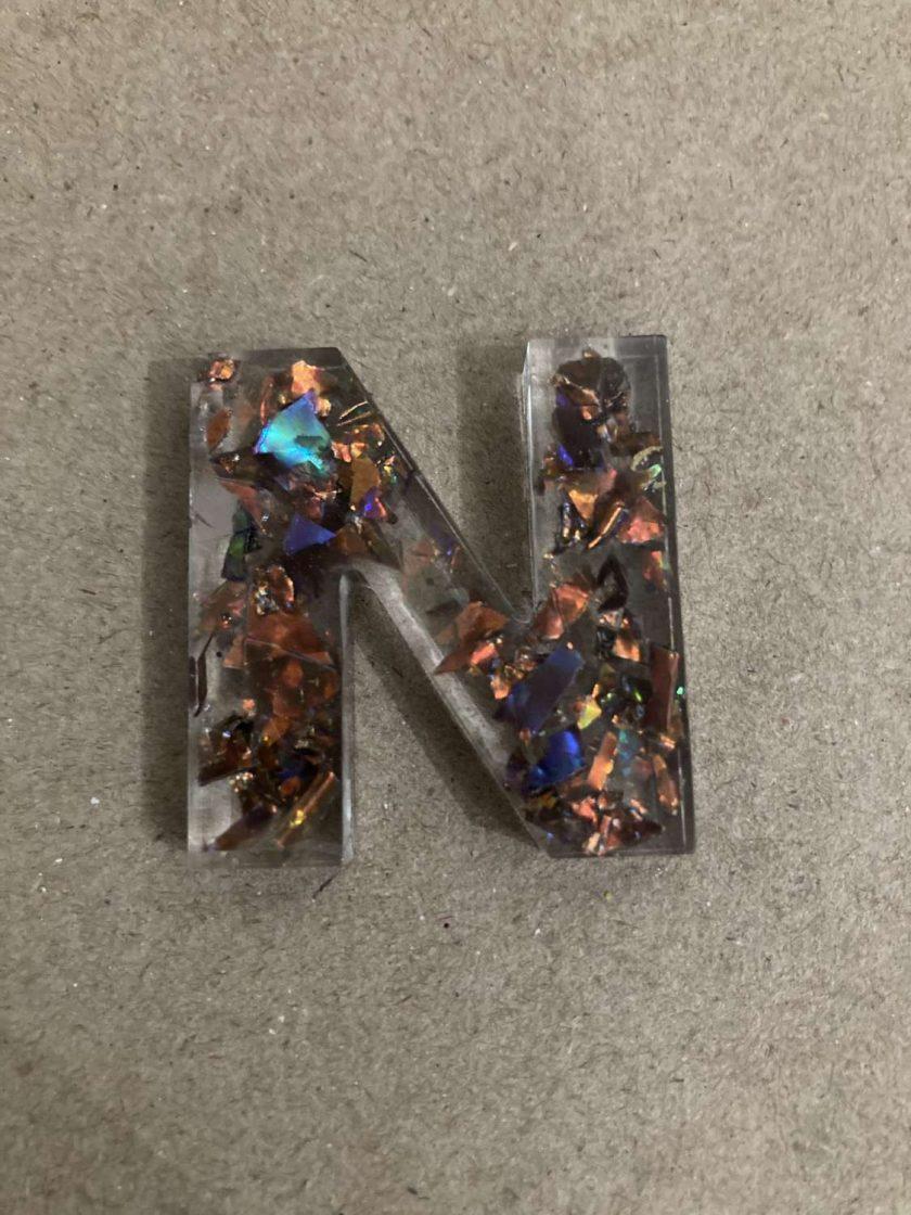 Resin letter N key chain or plain 3