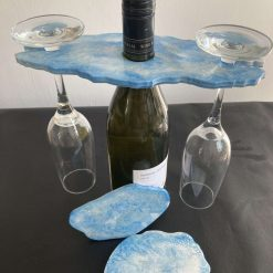 Wine butler and coasters blue and silver