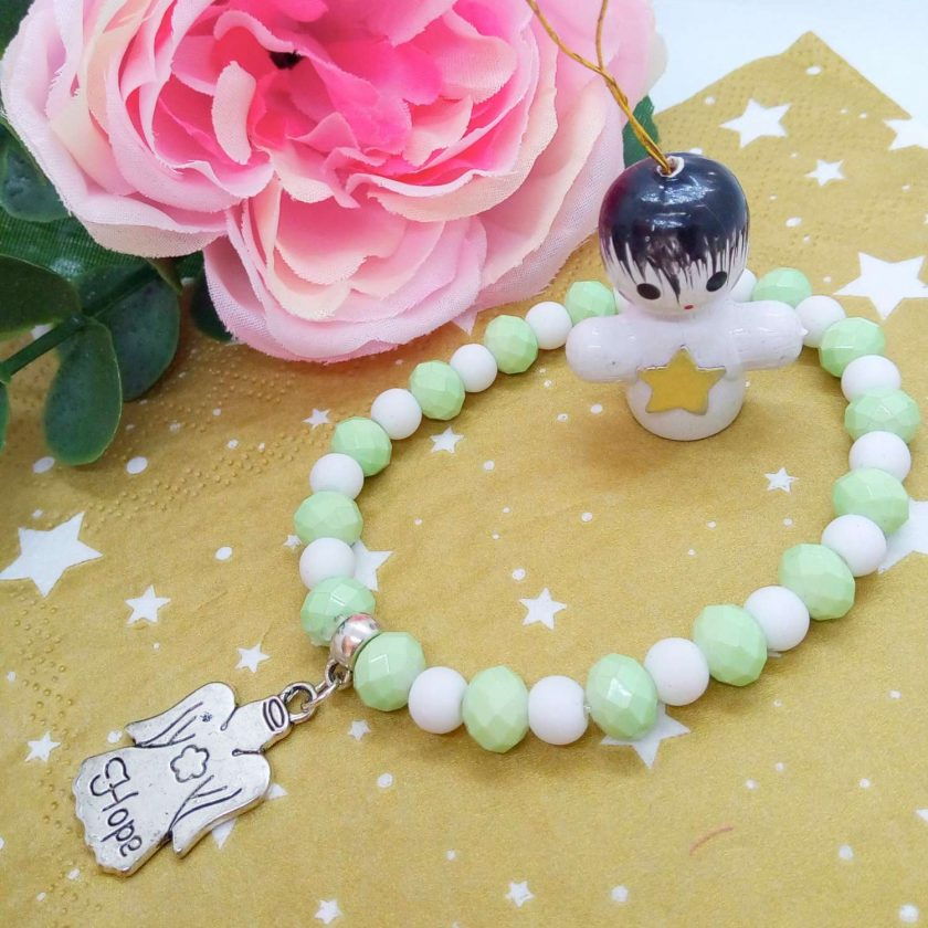 Christmas Stretch Bracelet with a Silver Christmas Angel Charm with Pale Green and White Faceted Beads 1