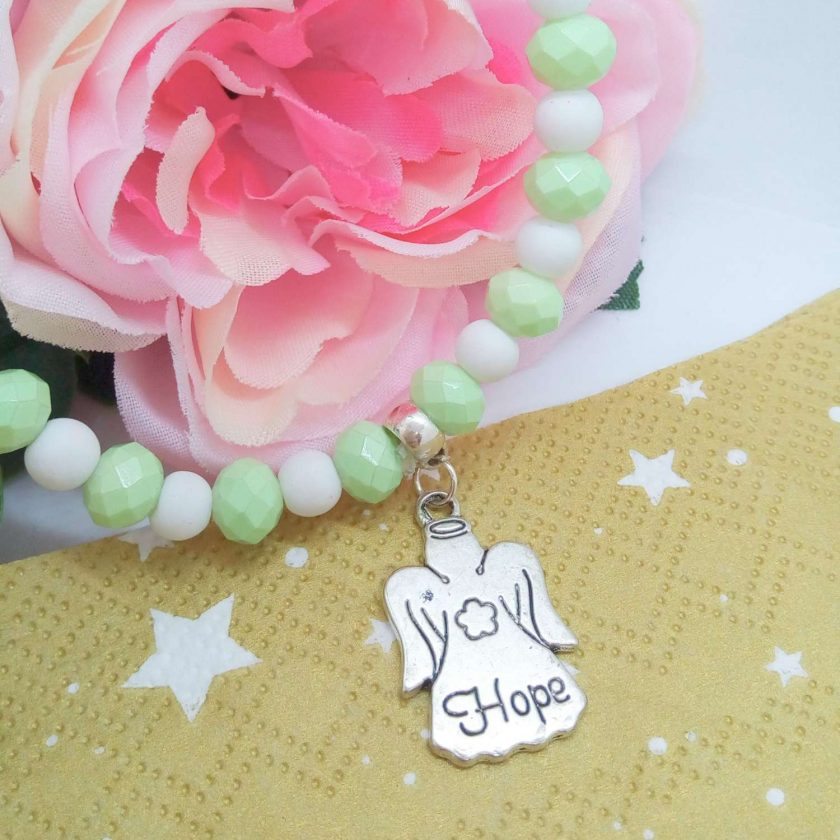 Christmas Stretch Bracelet with a Silver Christmas Angel Charm with Pale Green and White Faceted Beads 4