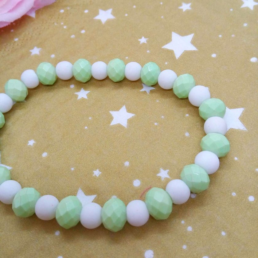 Christmas Stretch Bracelet with a Silver Christmas Angel Charm with Pale Green and White Faceted Beads 5