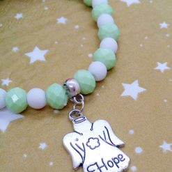 Christmas Stretch Bracelet with a Silver Christmas Angel Charm with Pale Green and White Faceted Beads 11