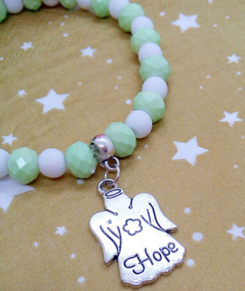 Christmas Stretch Bracelet with a Silver Christmas Angel Charm with Pale Green and White Faceted Beads 6