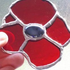 Stained glass poppy suncatcher 5