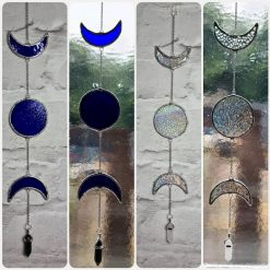 Stained glass triple moon hanging decoration 12