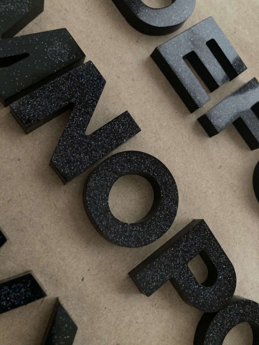 A - Z letters - black with glitter 2