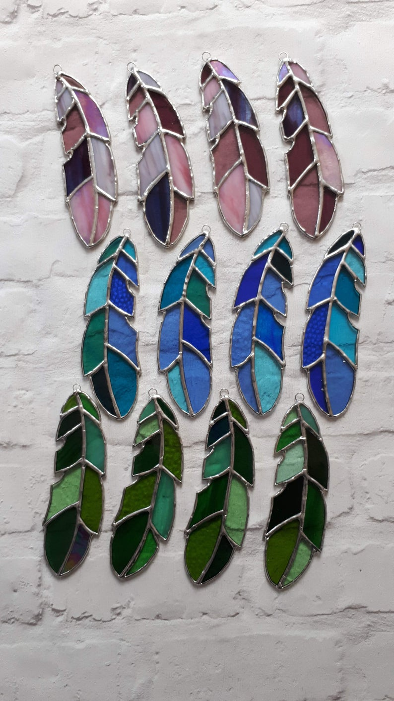 Stained glass feather 10