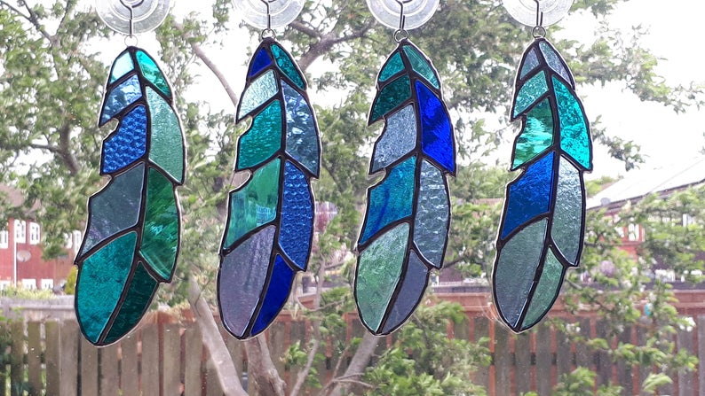 Stained glass feather 8