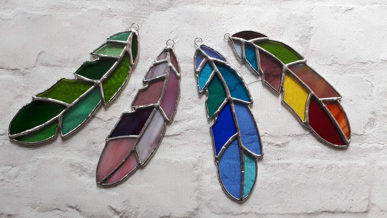 Stained glass feather 3