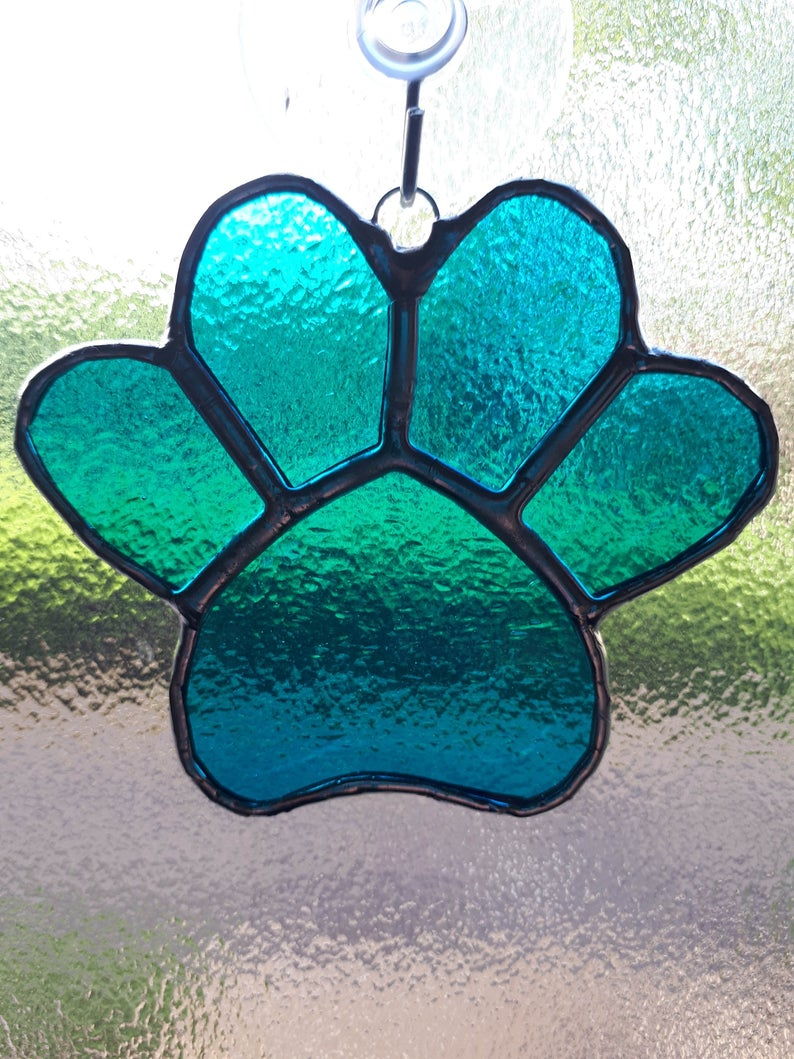 Stained glass paw print suncatcher - can be personalised 4