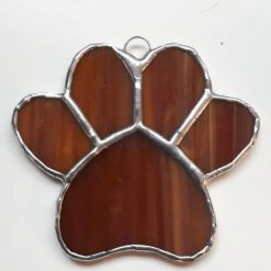 Stained glass paw print suncatcher - can be personalised 13