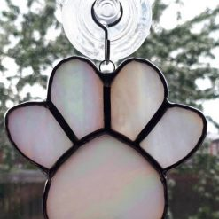 Stained glass paw print suncatcher - can be personalised 14