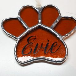 Stained glass paw print suncatcher - can be personalised 15