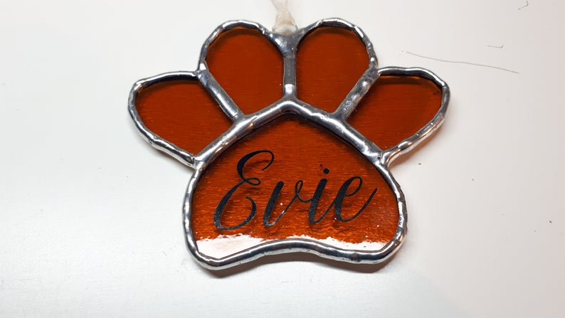 Stained glass paw print suncatcher - can be personalised 7