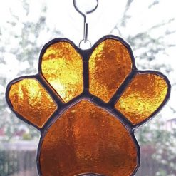 Stained glass paw print suncatcher - can be personalised 16