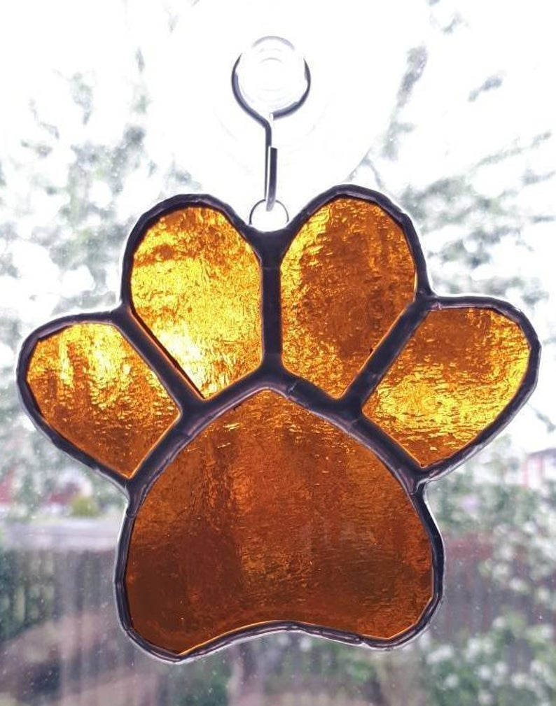 Stained glass paw print suncatcher - can be personalised 8