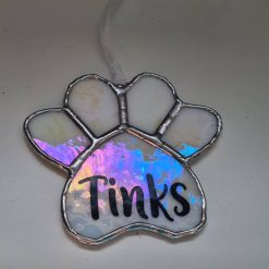 Stained glass paw print suncatcher - can be personalised 17