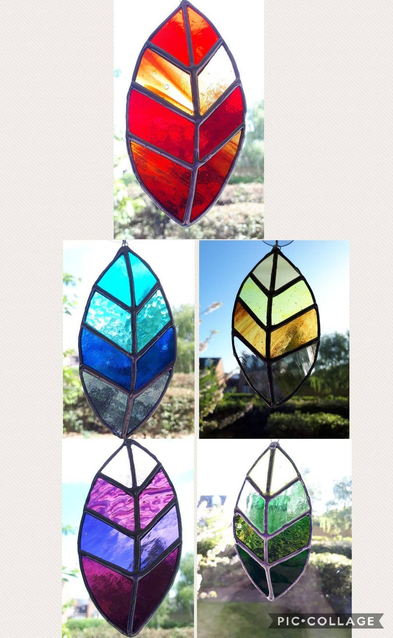 Stained glass leaves suncatchers 7
