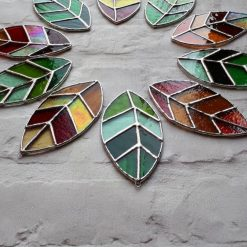 Stained glass leaves suncatchers 11
